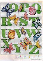 Gráficos Ponto Cruz e Artesanato: Monograma borboletas