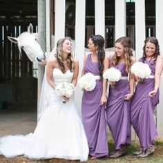 A sweet southern wedding at a horse farm with the funniest white horse! You'll love this purple DIY TN wedding! (Photo: JoPhoto)