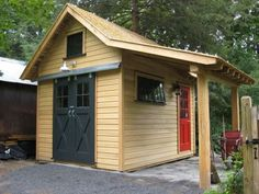 Small shed with lean-to which doesn't count toward the total floor space or footprint of the structure. Add a patio under the lean-to and it becomes a shady outdoor space to lounge around.