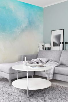 Lovely Skies - Adhesive Wallpaper - Removable Wallpaper - Wall Sticker - Wall Mural - Customizable Wallpaper - Watercolor