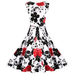 MaggieX Womens Vintage 1950's Floral Sleeveless Party Cocktail Dress * Discover this special product, click the image : Dresses for Christmas