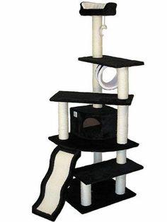 Pet-Cat-Kitty-Kitten-House-Go-Club-Cat-Tree-Black-Furniture-Scratcher-Toy-Deluxe