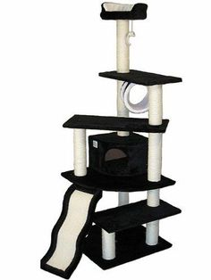 Pet-Cat-Kitty-Kitten-House-Go-Club-Cat-Tree-Black-Furniture-Scratcher-Toy-Deluxe