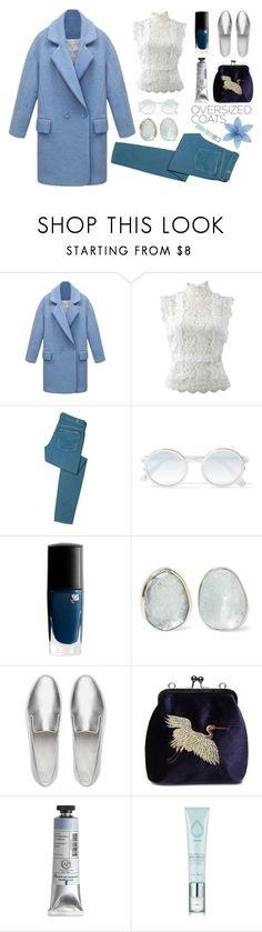 """""""Coat"""" by denisse-ponce ❤ liked on Polyvore featuring Oscar de la Renta, 7 For All Mankind, Sunday Somewhere, Lancôme, Melissa Joy Manning, FitFlop and Etude House"""