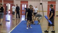 Martin Freeman somersaulting at hobbit boot camp. ...In his pink socks.