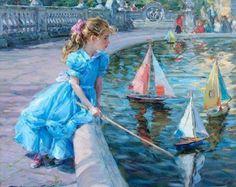 Konstantin Razumov (1974, Russian) Girl With Toy Boat http://iamachild.wordpress.com/2012/11/17/konstantin-razumov-1974-russian-2/