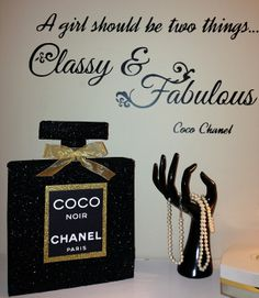 another DIY I made -Coco Chanel Noir-3D perfume bottle---glitter vinyl silhouette Cameo Pinterest.com/shersher135