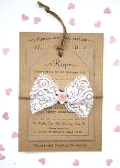 Rustic Rose and Lace Wedding Invitation Set - Rustic Wedding Invitation, Twine Tied and Lace Detailing
