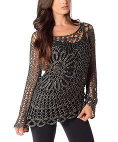 Look at this #zulilyfind! Black Sheer Crochet Sweater - Plus by Diva Designs #zulilyfinds