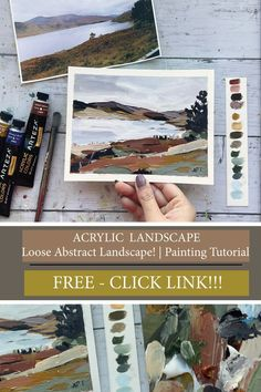 Loose Acrylic Landscape Painting. Free tutorial!