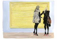 2 women at a Damien Hirst opening at Gagosian