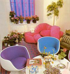 Richard Ohrbach's colorful dining corner (1975) Dining Corner, Dining Room Colors, Vintage Interior Design, Vintage Room, Room Ideas Bedroom, Egg Chair, Boho Decor, Furniture Design, Art Furniture