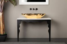 Entryway Tables, Shells, Metal, Furniture, Home Decor, Powder Room, Conch Shells, Decoration Home, Room Decor