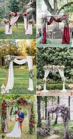 Wedding Ideas On A Budget wedding arch and altar decoration ideas for fall 2018 and 2019 - Rock a gorgeous floral wedding arch for your fall wedding! decorate your arch with the blooms in the colors of your wedding: deep red, burgundy,. Fall Wedding Arches, Wedding Arch Rustic, Wedding Ceremony Arch, Outdoor Wedding Decorations, Fall Wedding Colors, Wedding Centerpieces, Floral Wedding, Wedding Pergola, Outdoor Ceremony