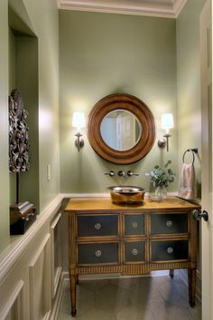 Sage Green Kitchen Cabinets Powder Room Traditional with Bowl Sink Furniture Sink . I loike everything except the cabinet Sage Green Kitchen, Green Kitchen Cabinets, Kitchen Walls, Wall Paint Colors, Room Colors, Room Paint, Ideal Bathrooms, Small Bathroom, Master Bathroom