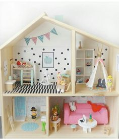Incredibly Tricked Out IKEA Flisat Dollhouses Homemade Dollhouse, Ikea Dollhouse, Modern Dollhouse, Dollhouse Furniture, Cushions Ikea, Ikea Hack, Kids Bedroom, Playroom, Dolls