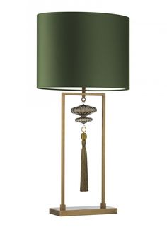 HEATHFIELD - Constance Large Antique Brass Table Lamp - Heathfield & Co - Table lamp with fluted blown glass in Smoke and decorative tassel by Wendy Cushing in gold.  Details  Lampshade: 18″ Oval in Lichen Satin  Shade Lining: White PVC  Base Code: M/CONS/L/SMG/AB  Shade Code: 18OV/PSAT  Cable: Twisted cable in complementary colour to base and shade  Dimensions  Full height with shade: 810 mm  Base height: 510 mm  Base width: 280 mm