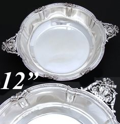 "Superb Antique French Sterling Silver 11 5/8"" Service Bowl, Tray, TETARD Freres, Silversmith, PARIS"