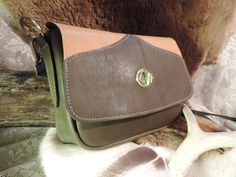 Handmade leather medium size ladies purse Striking colors perfect shape by RoundOakLeather on Etsy