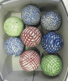 Eight Scottish pottery carpet bowls