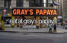 gray's papaya the bucket list, bucketlist, list pinterest, hot dog, die, hotdog, place, bucket lists, thing