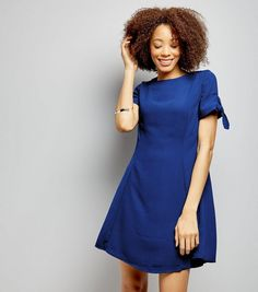 Blue Tie Sleeve Dress  | New Look