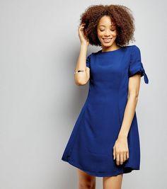 Blue Tie Sleeve Dress  | New Look