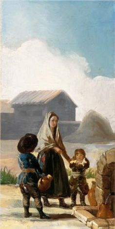 A woman and two children by a fountain - Francisco Goya