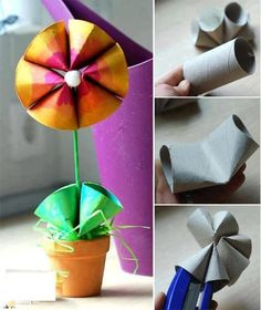 Spring flower out of toilet paper roll