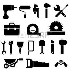 Werkzeug-und Hardware Icon Set in Black