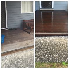 A before and after shot of a timber deck cleanied and oiled by Waterworx Pressure Cleaning.