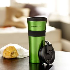 I want this mug when it goes on sale!!! Starbucks® Stainless Tumbler with Grip, Green, 16 fl oz