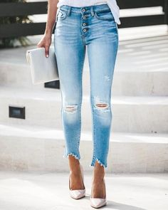 High + Mighty Distressed High Rise Skinny – VICI Diy Ripped Jeans, Womens Ripped Jeans, Cute Jeans, Sexy Jeans, Denim Pants, Skinny Jeans, Trendy Jeans, Jeans Women, Women's Jeans
