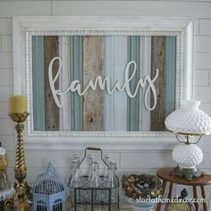 Farmhouse decor. Family pallet wall art. Teal brown gray colors. Rustic design