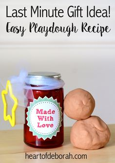 """Looking for a last minute gift idea? Make this all natural playdough recipe with ingredients from your pantry. Free """"Made With Love"""" printable included!"""