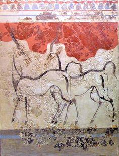 Antelope wall fresco, Akrotiri, Santorini.  Buried in the volcanic explosion of 1500BC,  So beautiful. http://www.bogdanoff.com/blog/wp-content/uploads/2009/10/Antelope_Fresco_Akrotiri.jpg