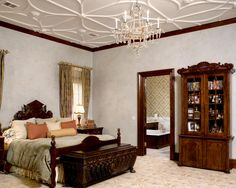 How To Plaster Ceilings Of Your Home: Traditional Bedroom Custom White Ceiling Plaster Using Universal Tint Venetian Plaster Wall And Gold Mica Dust Mix With Wax At Top ~ lcevans.com Art