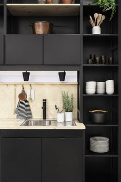 black cabinets.