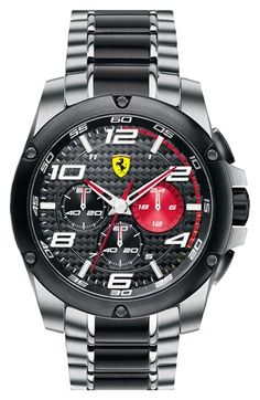 Scuderia Ferrari 'Paddock' Chronograph Bracelet Watch, available at Nordstrom. Bracelet Cuir, Bracelet Watch, Scuderia Ferrari Logo, Cool Watches, Watches For Men, Men's Watches, Black Watches, Ferrari Watch, Beautiful Watches