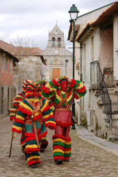 Carnaval de Podence - Carnival on the northern Portugal traditional characters. Visit Portugal, Spain And Portugal, Portuguese Culture, Iberian Peninsula, Carnival Masks, Europe, Folk Costume, People Of The World, World Cultures