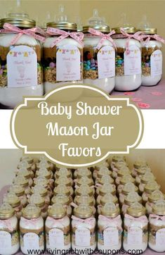 Baby Shower Mason Jar Favors - fill with your favorite cookie recipe! Great DIY Favor To Save You Money The Next Time You Host A Baby Or Wedding Shower!