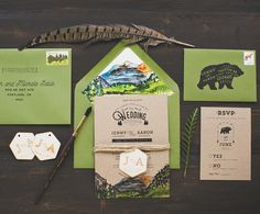 A striking watercolor scene of Colorado's Rocky Mountains makes these invitations simply majesti