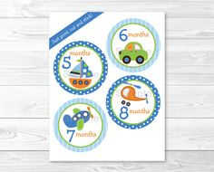 Transportation Monthly Milestone Printable Stickers / Vehicles