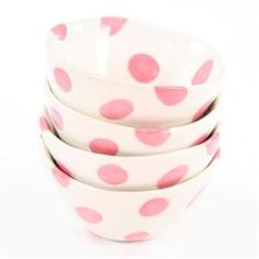 Pink polka dot ice cream bowls - so fun for a girls slumber party!