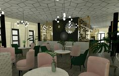 Restaurant lobby #render #project #visualisation #art deco