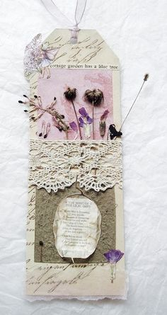 CAROLYN SAXBY TEXTILES - vintage inspired art tag with lace honesty pink and purple spring flowers from my garden