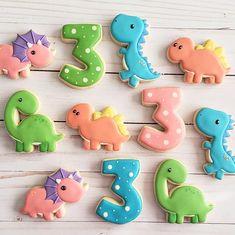 Dinasour Birthday Cake, Dinasour Party, Girl Dinosaur Birthday, 3rd Birthday Cakes, Baby Boy 1st Birthday, Birthday Cookies, 1st Boy Birthday, 1st Birthday Parties, Fancy Cookies
