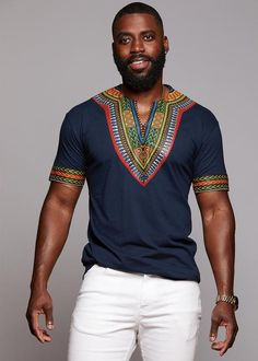 This bold and stunning African dashiki print black t-shirt is a must have for any guy's collection. Shop for all of your African attire today right here! African Fashion Designers, African Inspired Fashion, African Print Fashion, Africa Fashion, Dashiki For Men, African Dashiki, African Shirts For Men, African Clothing For Men, Trendy Clothing