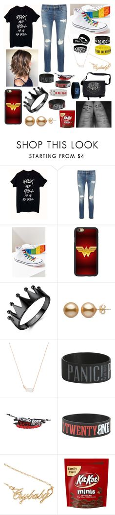 """""""Panic! At The Disco-Daughter of Brendon Urie"""" by crafter9273 ❤ liked on Polyvore featuring rag & bone/JEAN, Converse, Kendra Scott, Hot Topic and AC/DC"""