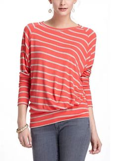 Anthropologie Bordeaux Coral & Grey Striped Thin-Ribbed Boatneck Dolman Top